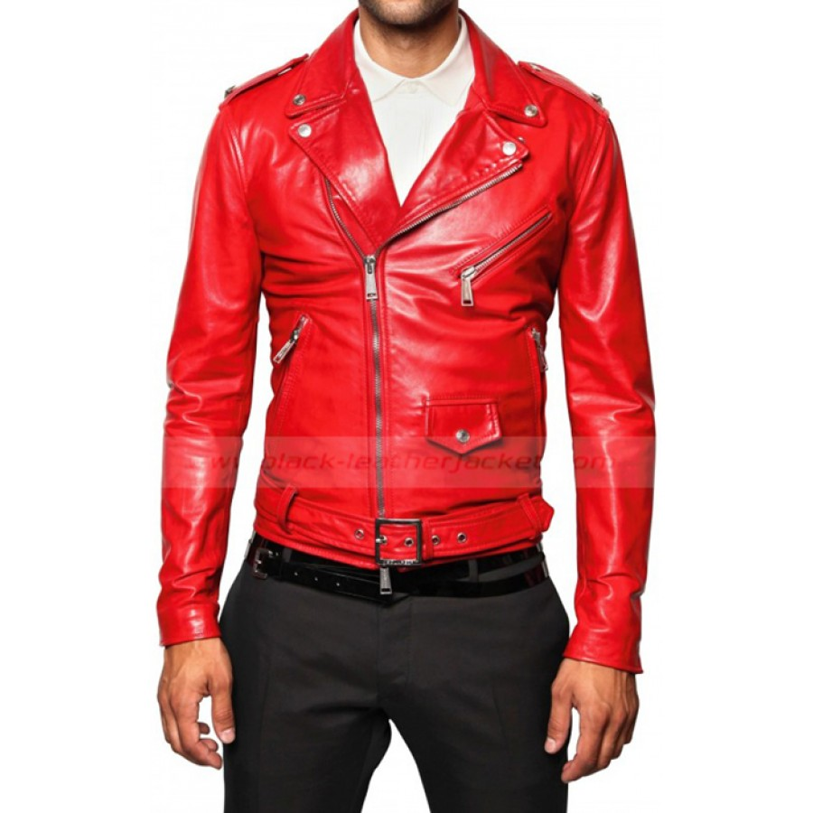 Red Leather Jacket mens red leather biker jacket TWPPJFU