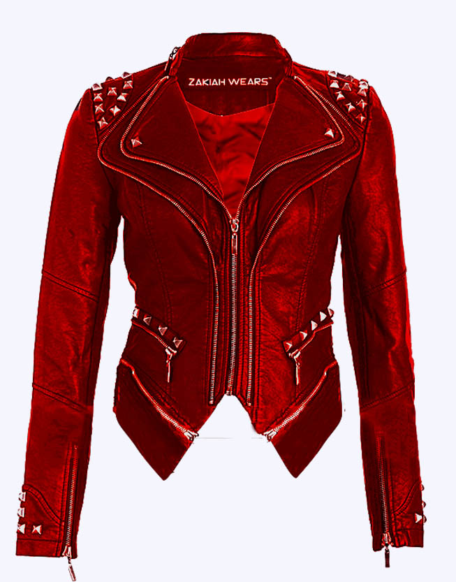 Red Leather Jacket paige wwe wrestler studded sheepskin leather jacket SAHSOIO