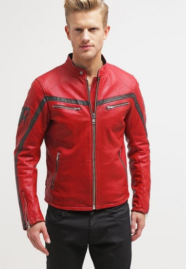 Red Leather Jacket red leather biker jacket mens QBNMRUT