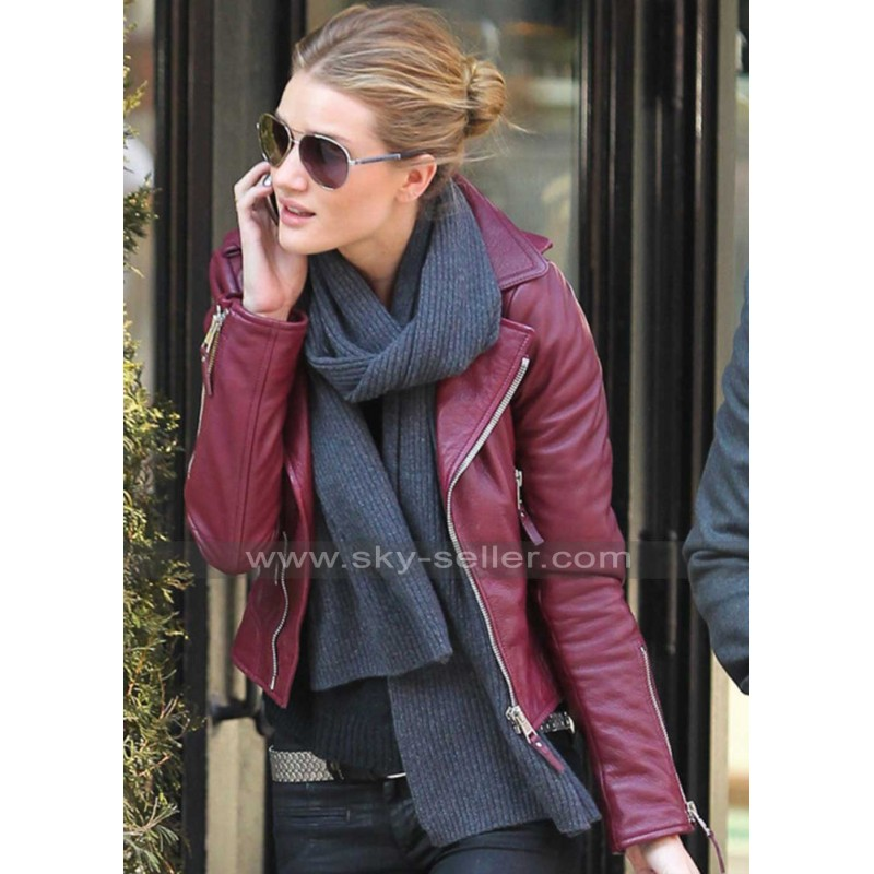 Red Leather Jacket rosie huntington red biker leather jacket UFCDHBT