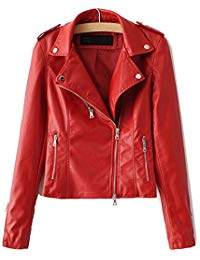 Red Leather Jacket womenu0027s zipper motorcycle biker faux leather jackets DHJNSDV