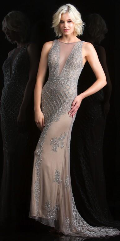 scala dresses sexy sheer illusion v-neck prom dress - scala - 48787 VLSZOVT