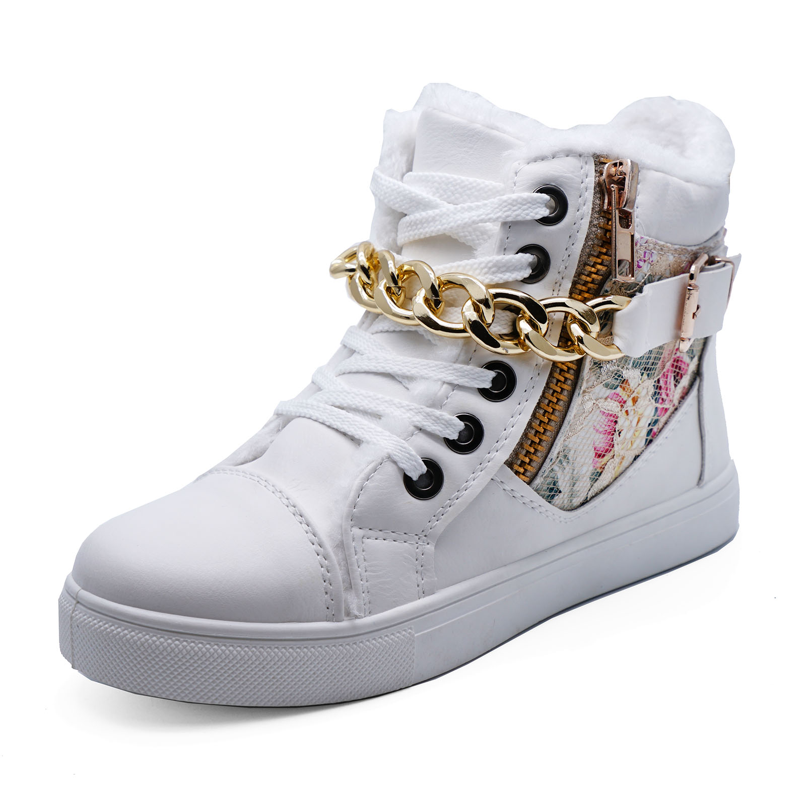 sentinel womens white lace-up hi-top floral baseball boots hi-top pumps  shoes RGQXYLI