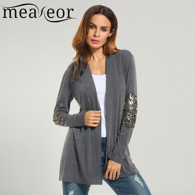 Sequin Cardigan meaneor brand women sequin cardigan outwear 2017 new autumn wool sweater  casual shawl collar CXTIDBR