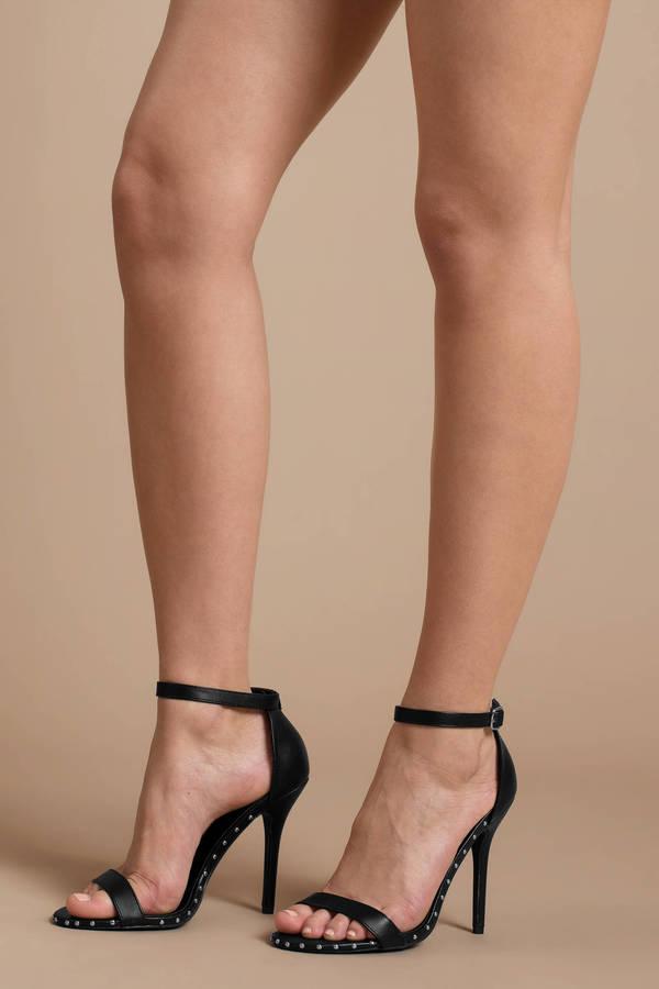 sexy heels high heels, black, alli studded ankle strap heels, ... GFLSKZQ