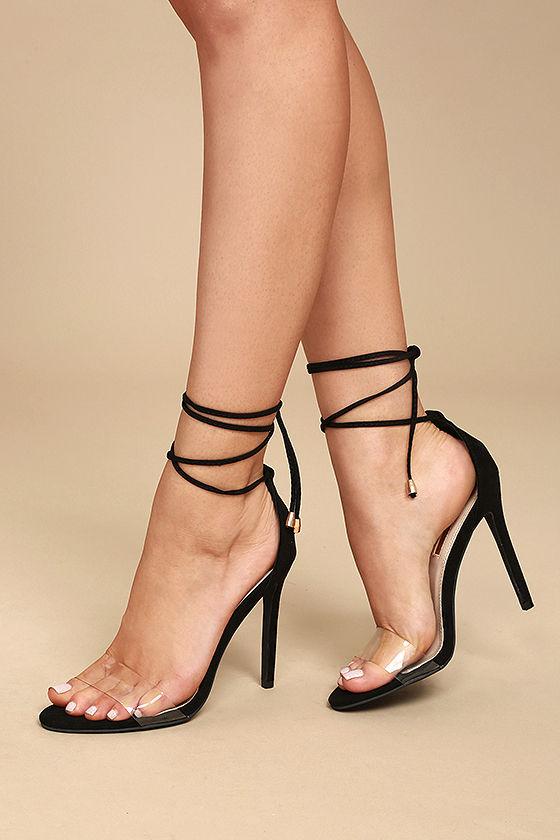 sexy heels ledah black suede lace-up heels JXCPSXG