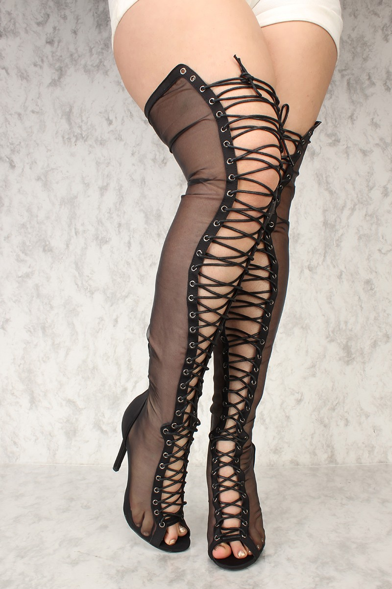 sexy heels sexy black sheer open toe lace up thigh high heel boots lycra NXEPFZH