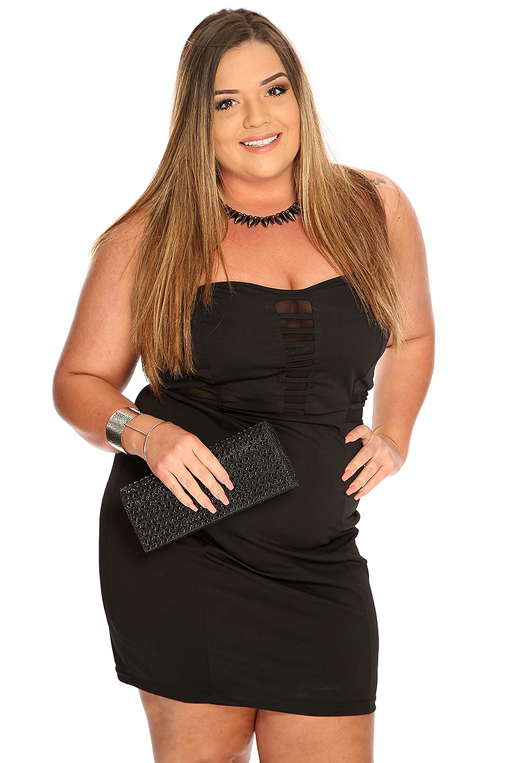 sexy plus size clothing black strapless caged mesh design sexy plus size dress NLXANIH