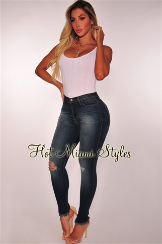 sexy plus size clothing quick view this product dark sandblast denim high waist ankle frayed skinny  jeans SCHETIC