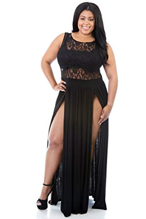 sexy plus size clothing rekais sexy plus size reign maxi dress slit cocktai party dress (black) UMABJCM