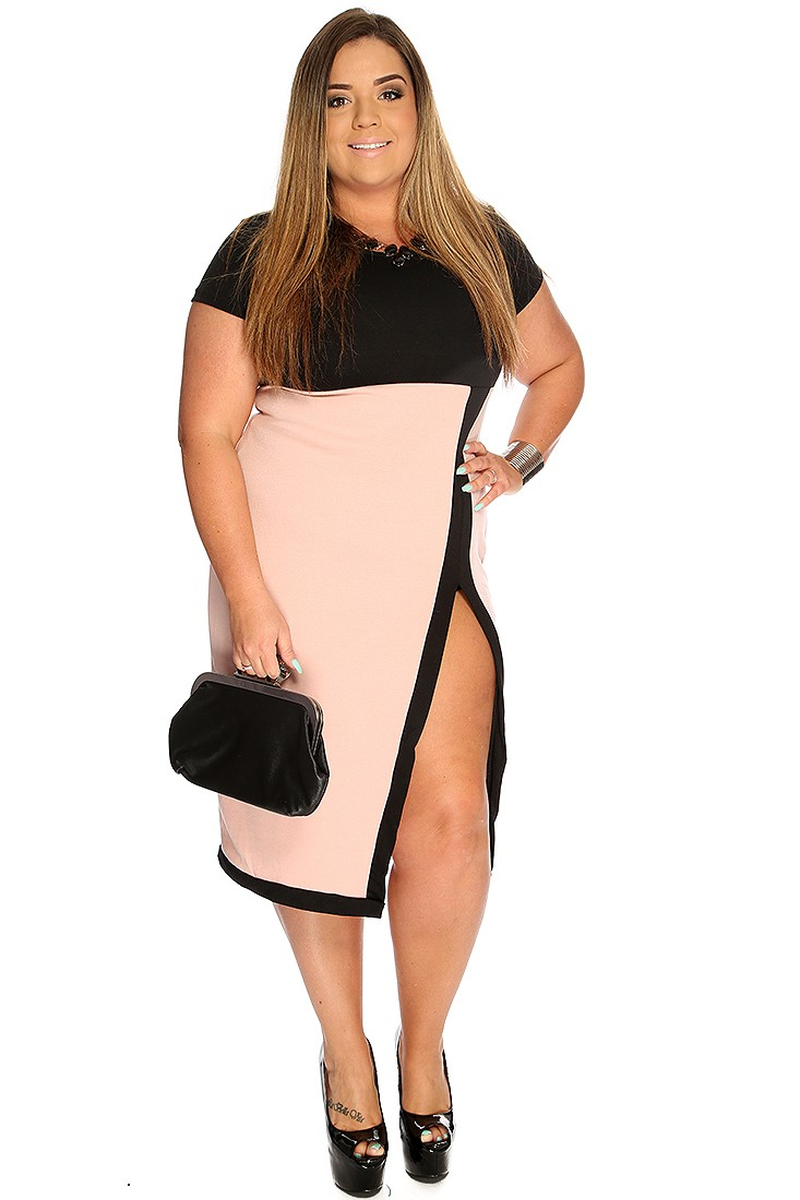 sexy plus size clothing sexy plus size dresses dusty pink black side slit sexy plus size dress  fnwartv WEYLQVO