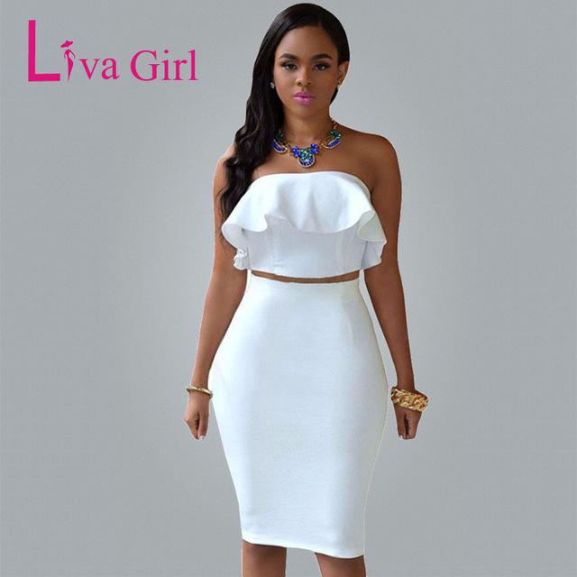 Sexy White Dresses autumn sexy white club midi dress women two piece sets ruffles crop top  dresses GXFLKSM