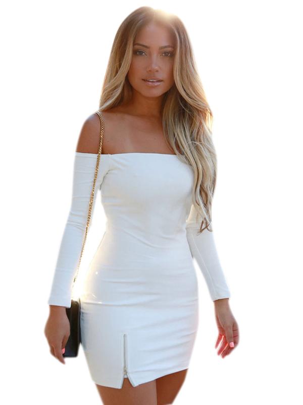 Sexy White Dresses sexy slash neck zipper hem skinny party dress ... BWXTNWH
