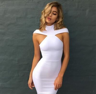 Sexy White Dresses sexy white draped mock neck sleeveless bodycon dress party dress long  dresses black red SELWHPF
