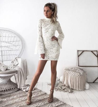 Sexy White Dresses sexy white dresses round neck ... OKSMIMQ