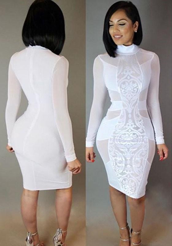 Sexy White Dresses white patchwork grenadine bodycon bandage club midi dress outfit NSFTCWD