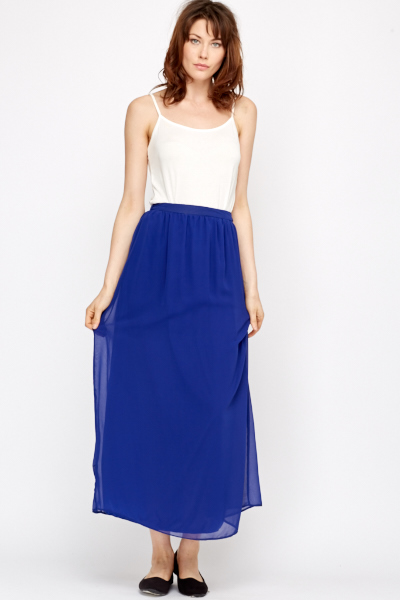 sheer overlay royal blue maxi skirt PAXRSSL