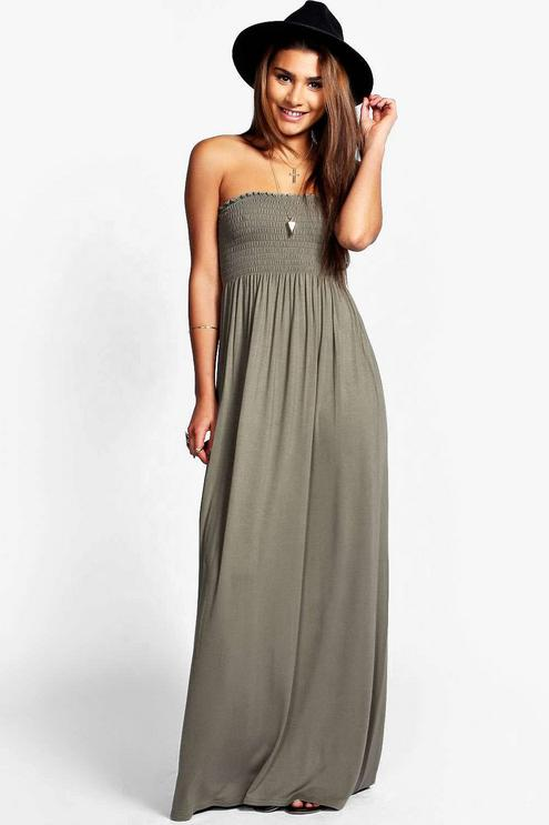 shirred bandeau maxi dress AYZLEKN