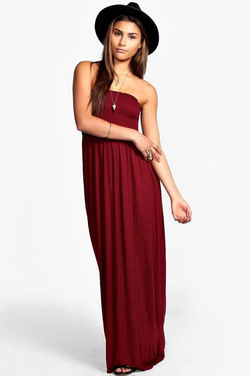 shirred bandeau maxi dress XQNRENN