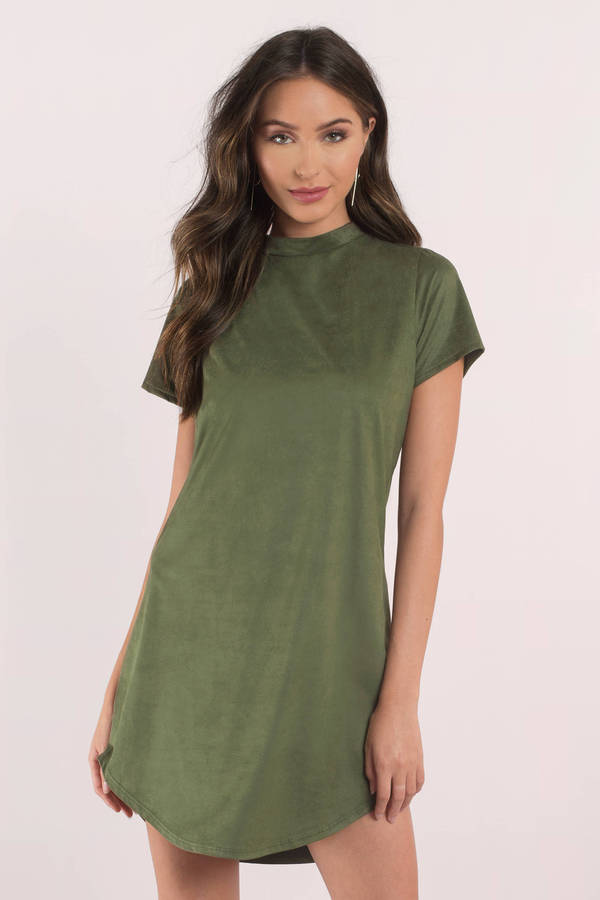 shirt dresses sahara olive faux suede shirt dress ... IDYBCBT