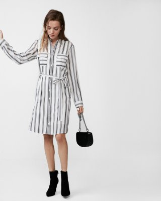 shirt dresses striped tie front city shirt dress by express | express ZZYWOHE