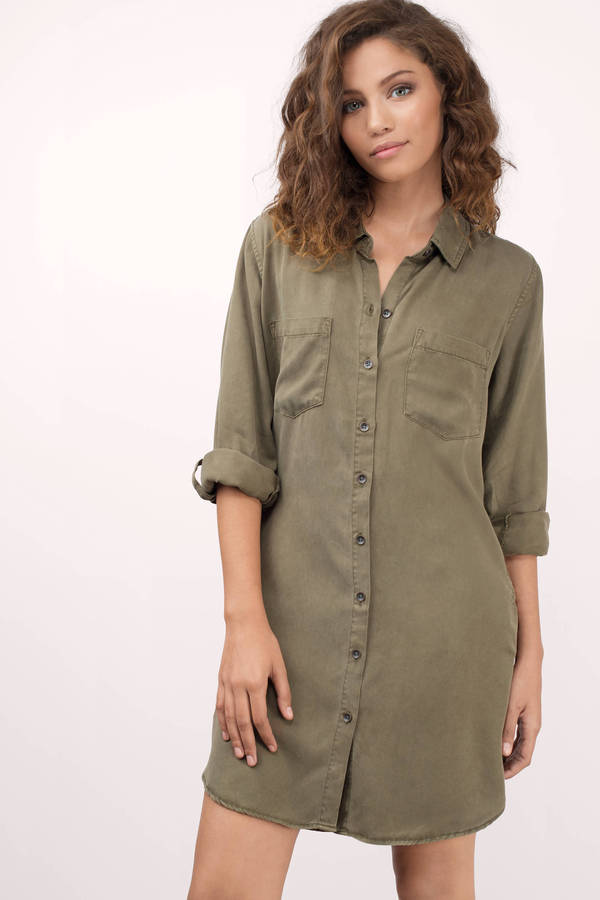 shirt dresses thread u0026 supply thread u0026 supply better days olive chambray shirt ... TNYJYSB