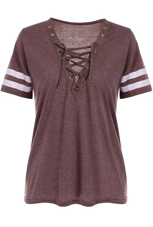 shirts for women grommet lace up striped tee. outfits for womenwoman ... KBMDCRH