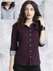 shirts for women roadster navy blue u0026 red regular fit checked reversible casual shirt IQVWPDU