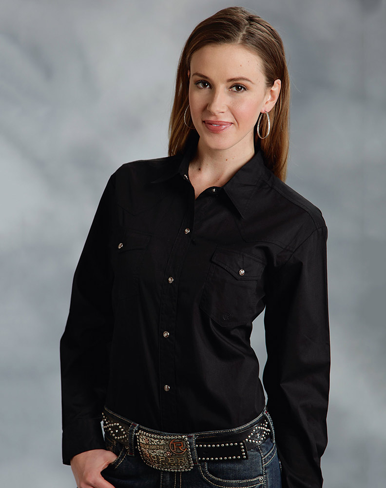 shirts for women roper womenu0027s long sleeve solid western snap shirt - black CIZUICE