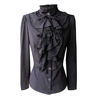 shirts for women yu0026z stand-up collar vintage victoria ruffle long sleeve shirt blouse tops  bs02 (xs HJPHWVA