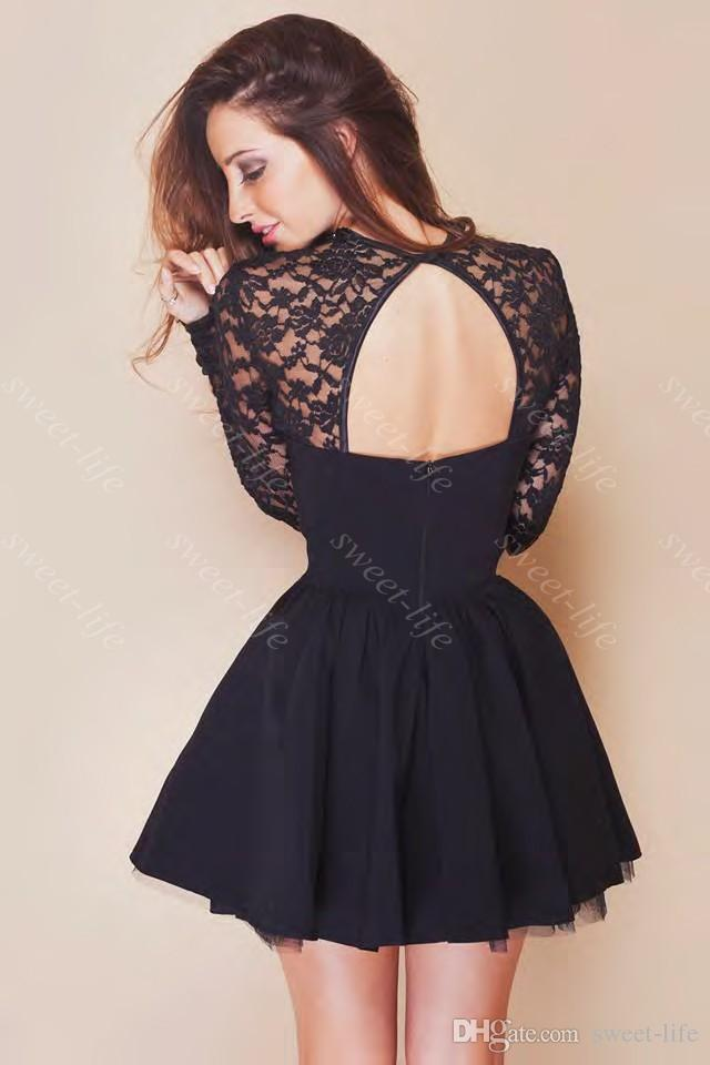 Short Black Prom Dresses 2015 cute short prom dresses cheap black lace long sleeve backless chiffon  party cocktail HBLKCDV