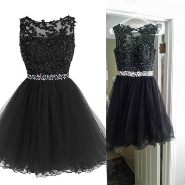 Short Black Prom Dresses 49%off cute black a-line sleeveless beading prom dresses 2018 -  lolipromdress.com VWWYHOB