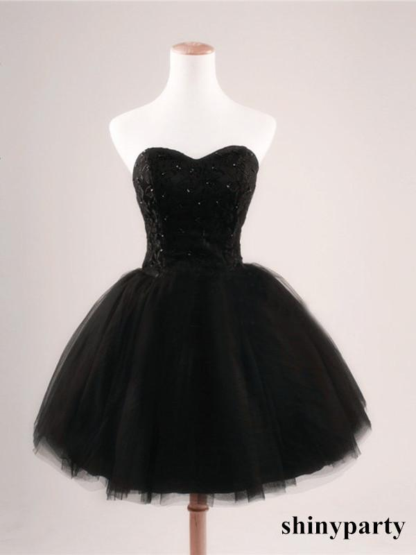 Short Black Prom Dresses black ball gown sweetheart short prom dresses,black prom dress,cheap short  black dresses RNOWMDM
