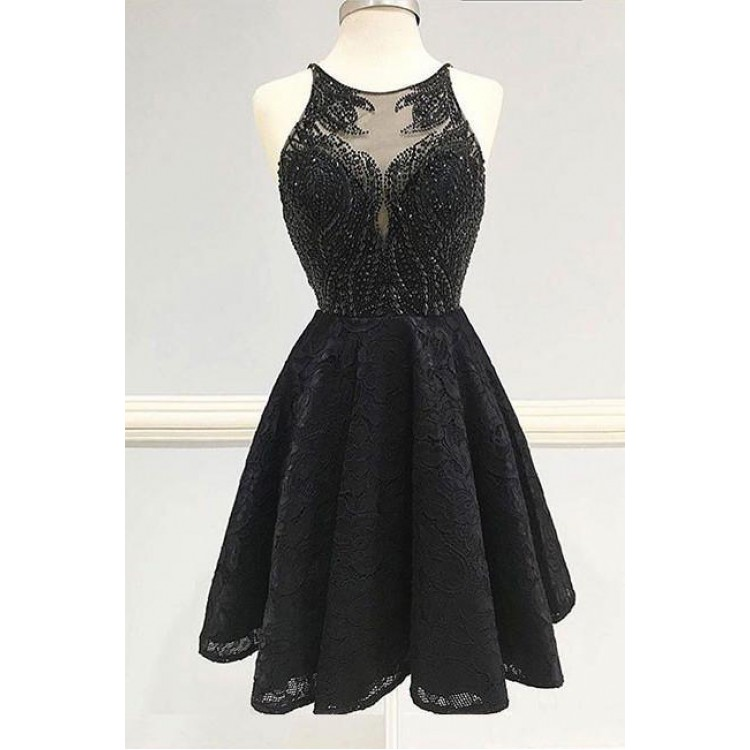 Short Black Prom Dresses custom made black homecoming dresses, short prom dresses, short black  homecoming dresses with beaded/beading NFOTZAF