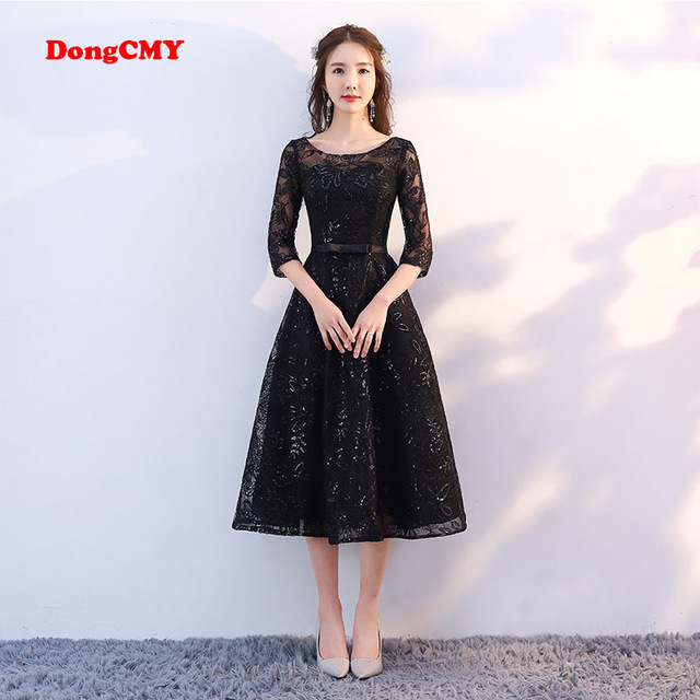 Short Black Prom Dresses dongcmy new arrival 2018 short black color prom dress tea-length elegant  party girls evening HNZNITJ