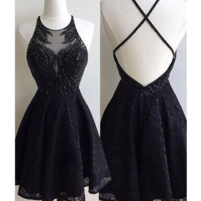 Short Black Prom Dresses lp578 lovely halter short black prom dress sequins lace party gown  homecoming dresses 2018 TXWADRY