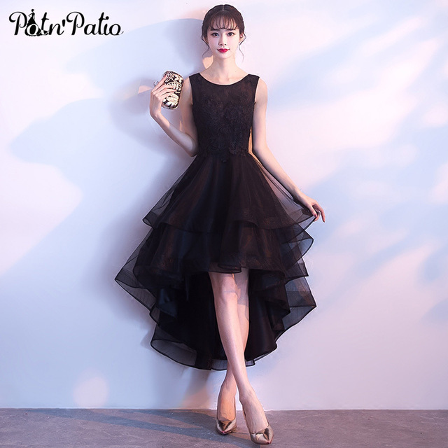 Short Black Prom Dresses potnu0027patio high low black prom dresses 2018 elegant shoulder straps  sleeveless short prom dresses MTRVQXB