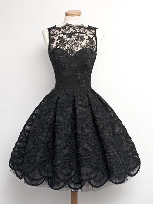 Short Black Prom Dresses short black lace prom dresses, short black homecoming/graduation dresses ZCFZTWA
