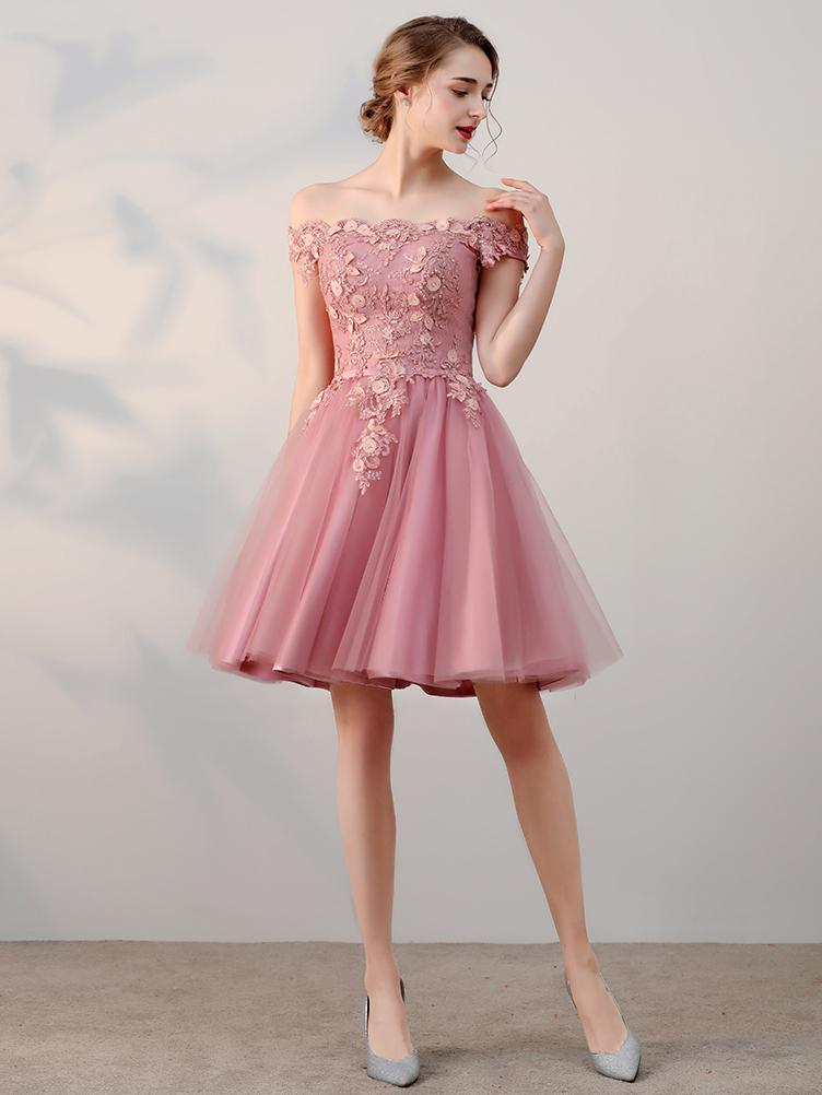 Short Prom Dress chic a-line off-the-shoulder tulle pink charming short prom dress homecoming ZNVYYVQ