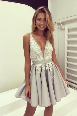 Short Prom Dress new arrival v neck ivory lace silver satin short prom dresses homecoming  dress ld430 SCZNVIS