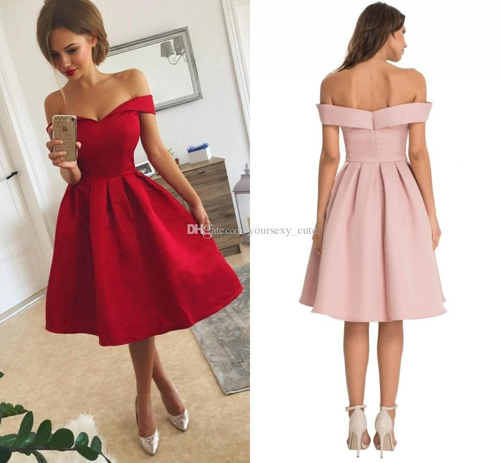 Short Prom Dress simple red satin short prom dresses with ruffles off shoulder knee length  short party CZEIYVV