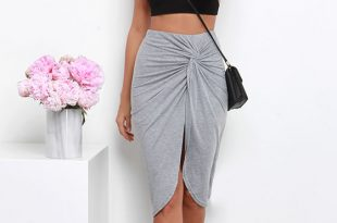 sideshow heather grey wrap skirt YRSUWRN