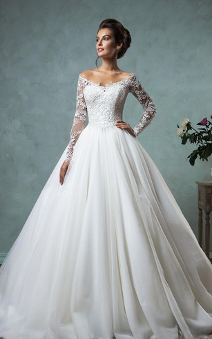 sleeved wedding dresses a-line ball gown empire mini jewel v-neck long sleeve bell empire dropped  ... OVCCHFE