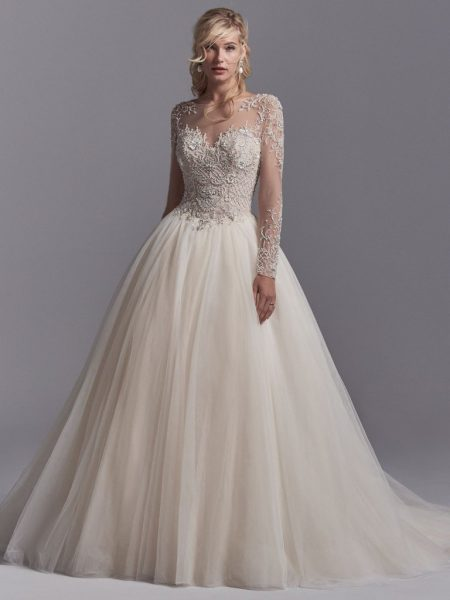 sleeved wedding dresses illusion sweetheart neck long sleeve lace applique wedding dress by sottero  and midgley - MEIAIJF
