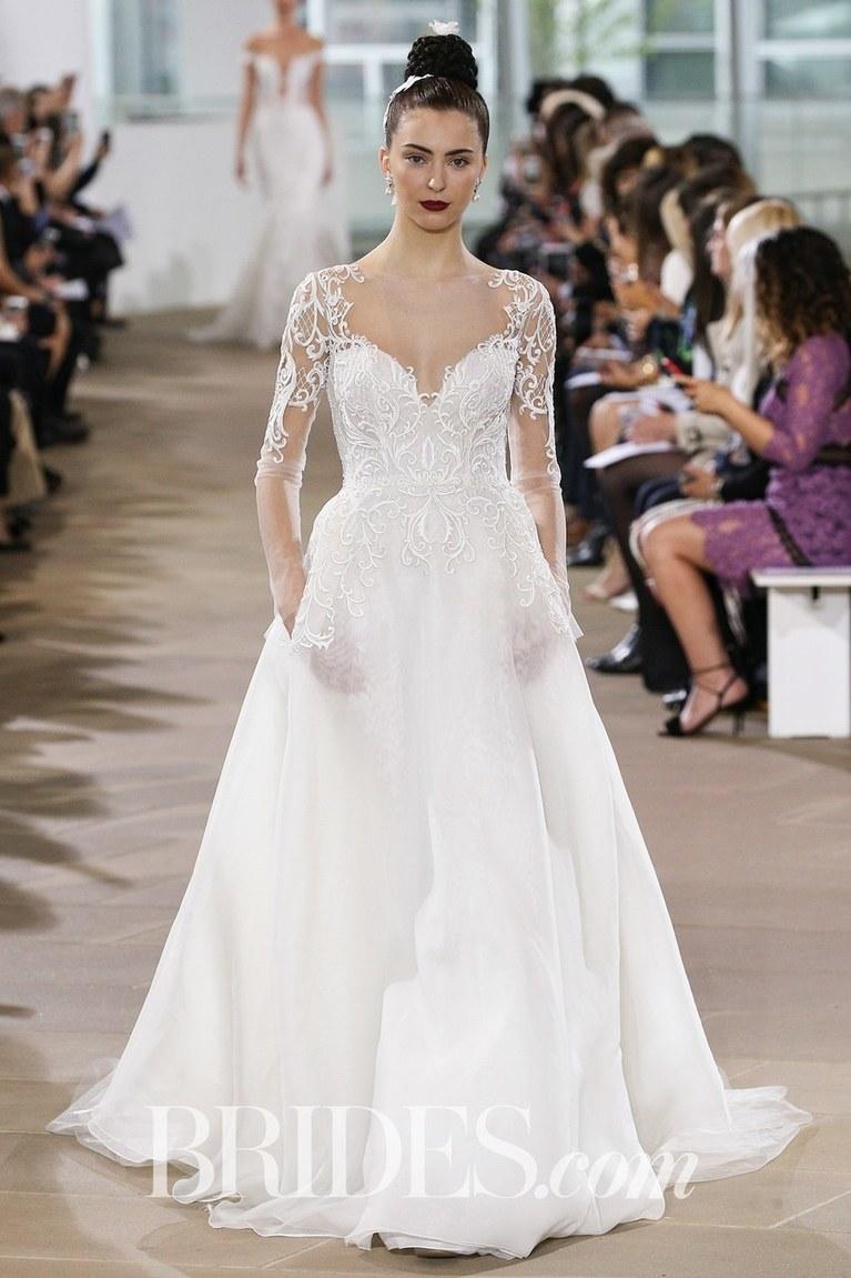 sleeved wedding dresses ines di santo wedding dress with three-quarter-length sleeves RFLHNMZ