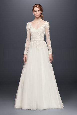 sleeved wedding dresses long a-line formal wedding dress - davidu0027s bridal collection PCYZPBC