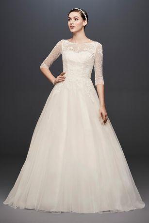 sleeved wedding dresses long ballgown formal wedding dress - davidu0027s bridal collection XJLAIPM