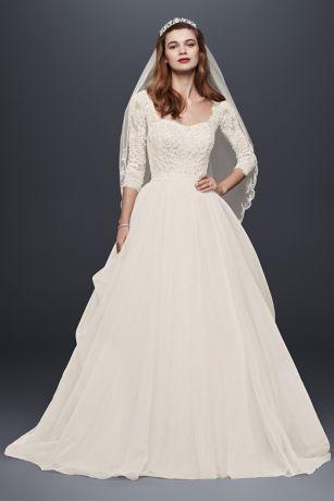 sleeved wedding dresses long ballgown formal wedding dress - oleg cassini WDJTOTF