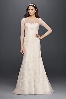 sleeved wedding dresses long mermaid/ trumpet formal wedding dress - oleg cassini YOSNLLY