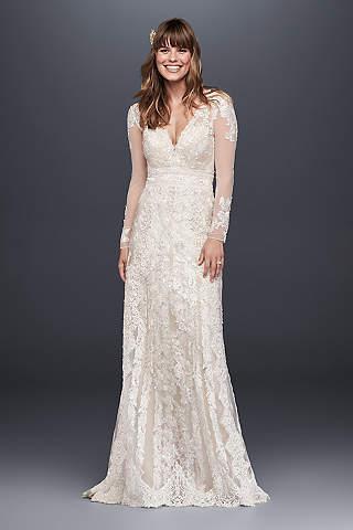 sleeved wedding dresses long sheath boho wedding dress - melissa sweet UTDEEPD